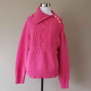 Pink Cable XL Chaps Sweater 100% Cotton Gold Toned